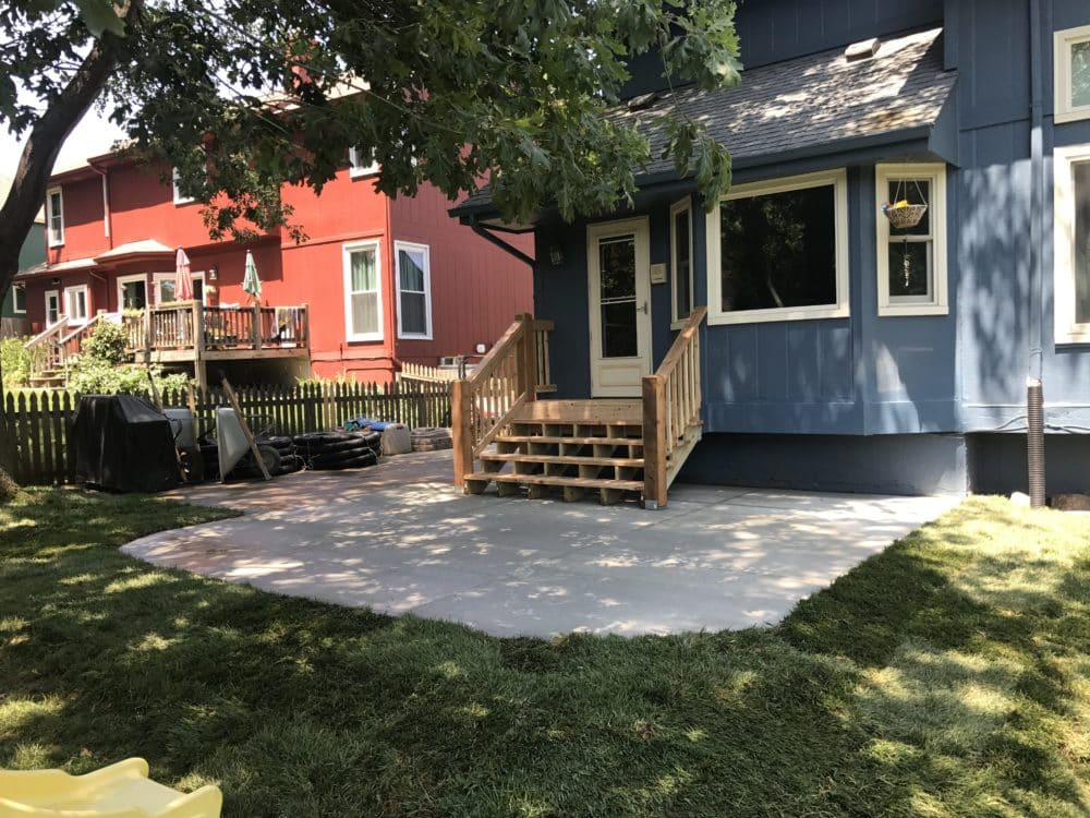 New Concrete Patio, Steps U0026 Deck Removal   Water Drainage Concrete  Retaining Wall Siding U0026 Roofing Omaha Contractor
