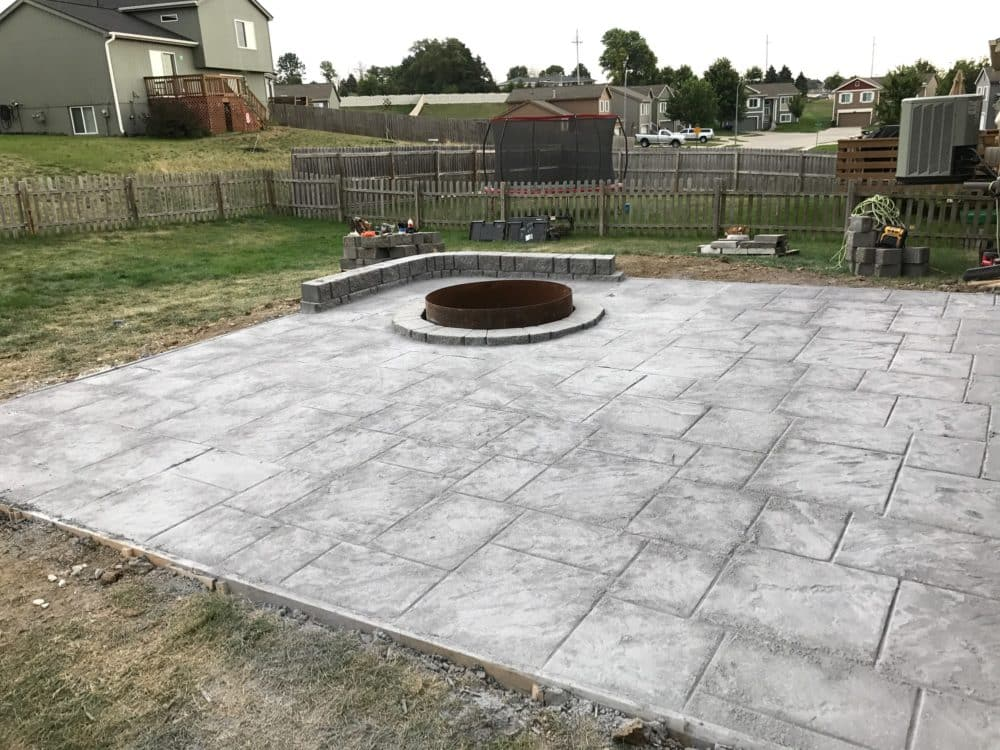 Stamped U0026 Colored Concrete Patio, Fire Pit U0026 Sitting Wall   Water Drainage  Concrete Retaining Wall Siding U0026 Roofing Omaha Contractor