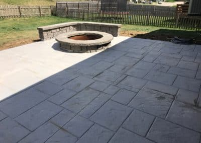 Stamped & Colored Concrete Patio, Fire Pit & Sitting Wall